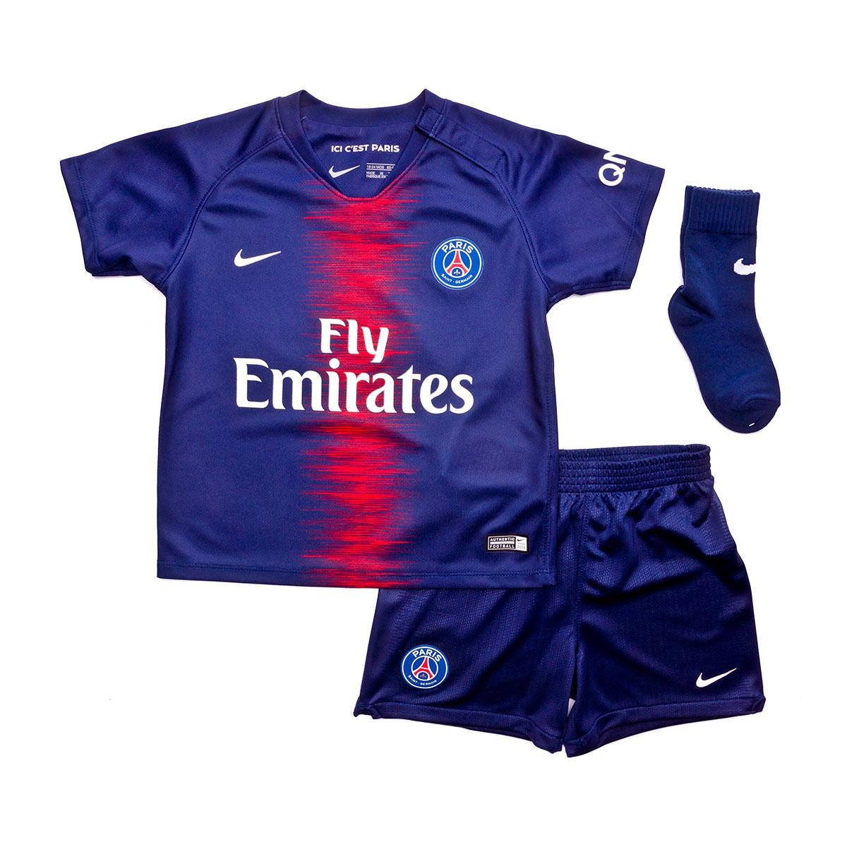 new concept ac978 b1716 Conjunto Nike Bebé Paris Saint-Germain Primera Equipación 2018-2019  Midnight navy-White - Soloporteros es ahora Fútbol Emotion
