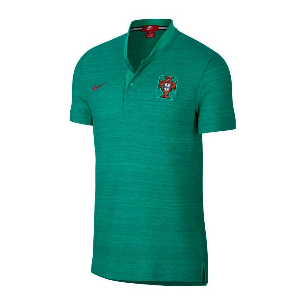 Polo shirt Nike Portugal 2018-2019 Kinetic green-Gym red ... e2ad25e7642d