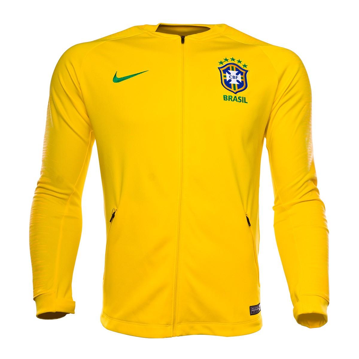 2419f56016be2 Chaqueta Nike Brasil Pre-Match 2018-2019 Midwest gold-Varsity maize-Lucky  green - Tienda de fútbol Fútbol Emotion