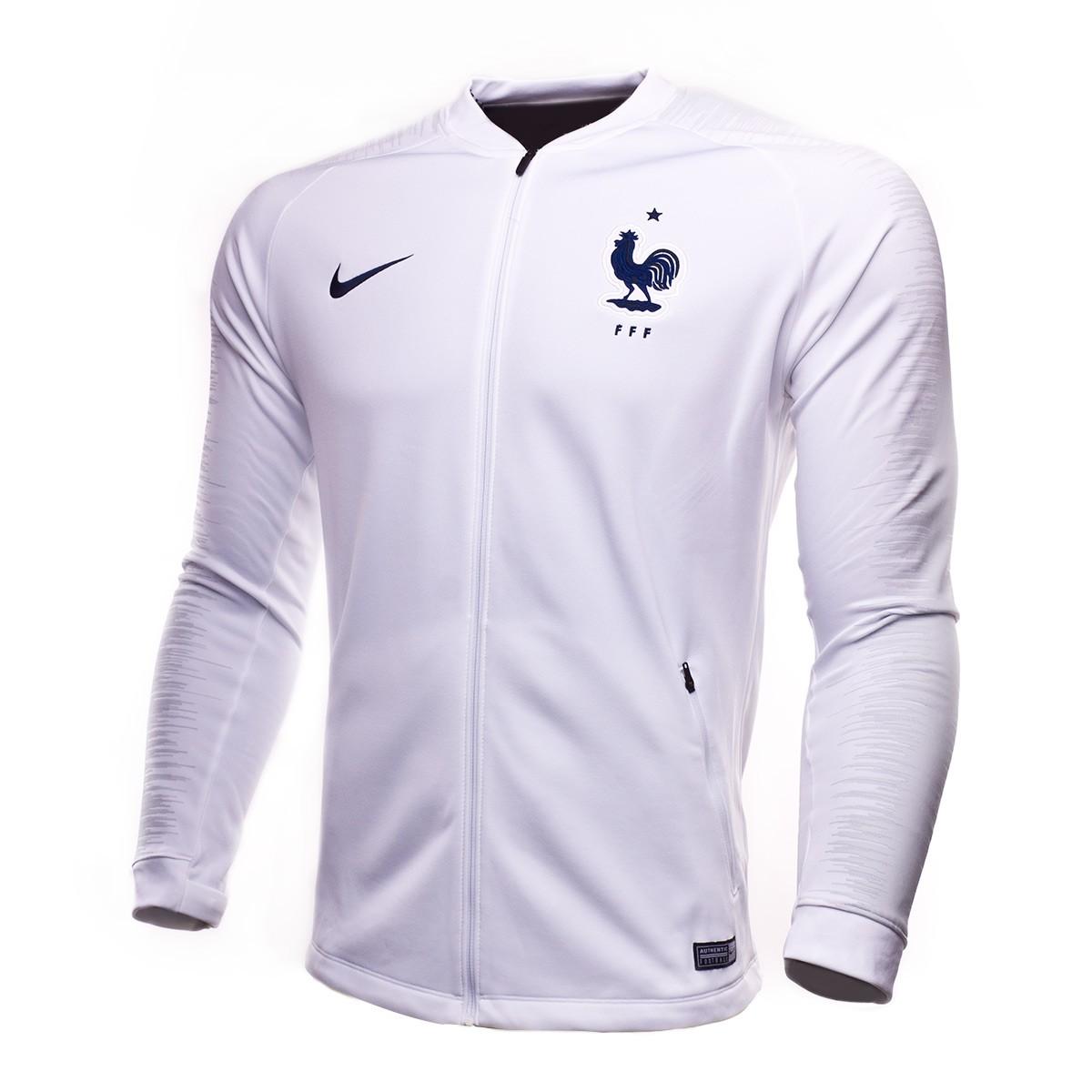 beb4bc5804b9a Chaqueta Nike Francia Pre-Match 2018-2019 White-Pure platinum-Obsidian -  Tienda de fútbol Fútbol Emotion