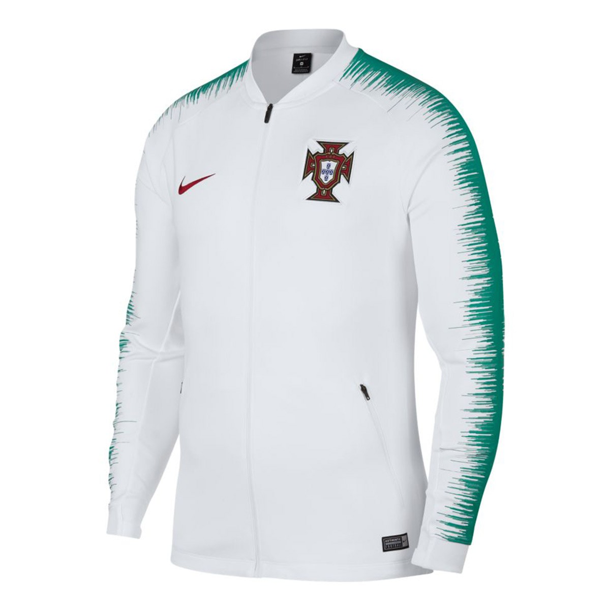 la moitié 392e6 54239 Chaqueta Portugal Pre-Match 2018-2019 White-Kinetic green-Gym red
