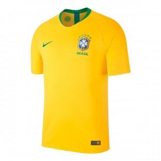 Camiseta  Nike Brasil Vapor Primera Equipación 2018-2019 Midwest gold-Lucky green