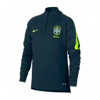 Sudadera  Nike Brasil Dry Squad 2018-2019 Niño Armory navy-Volt