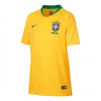 Maillot  Nike Brésil Breathe Stadium Tenue Domicile 2018-2019 Enfant Midwest gold-Lucky green