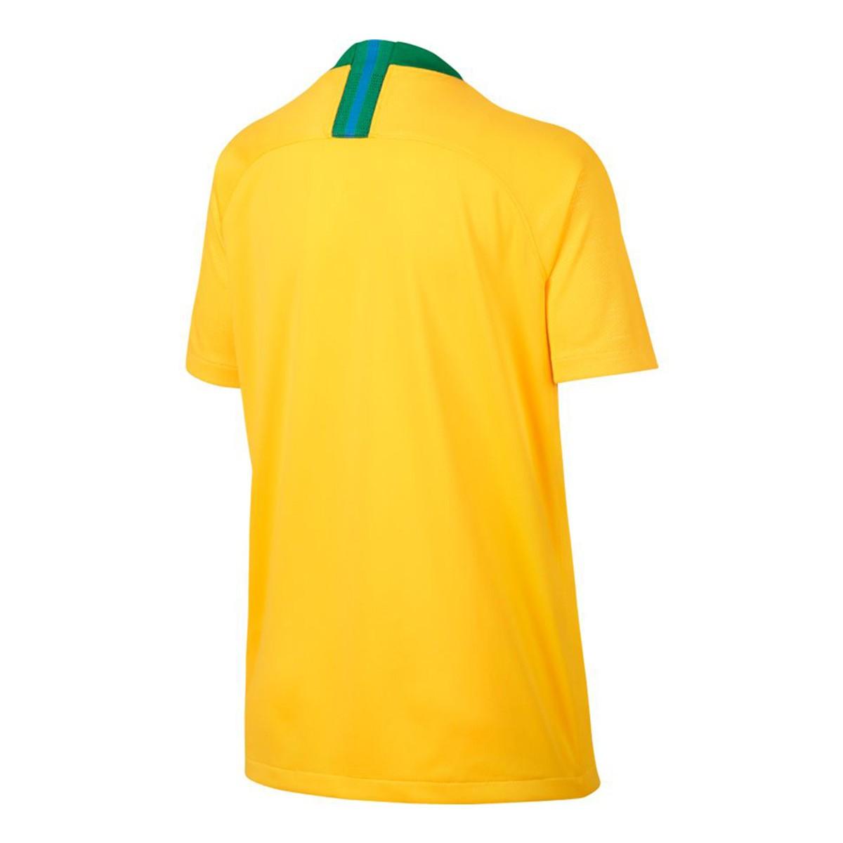 Camiseta Nike Brasil Breathe Stadium Primera Equipación 2018-2019 Niño  Midwest gold-Lucky green - Soloporteros es ahora Fútbol Emotion 502a2a2b3f446