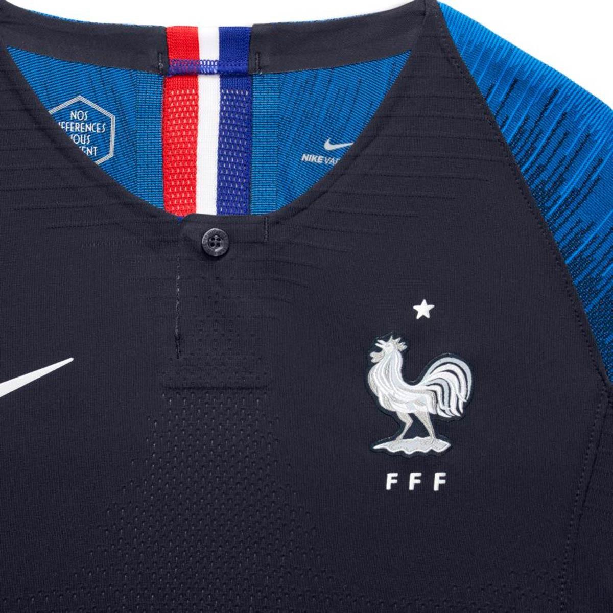 1dca16317989c Camisola Nike França Vapor Equipamento Principal 2018-2019 Crianças  Obsidian-White - Loja de futebol Fútbol Emotion