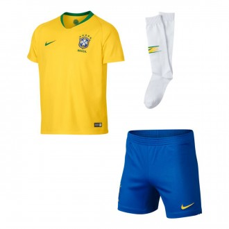 Kit  Nike Kids Brazil Breathe 2018-2019 Home  Midwest gold-Lucky green