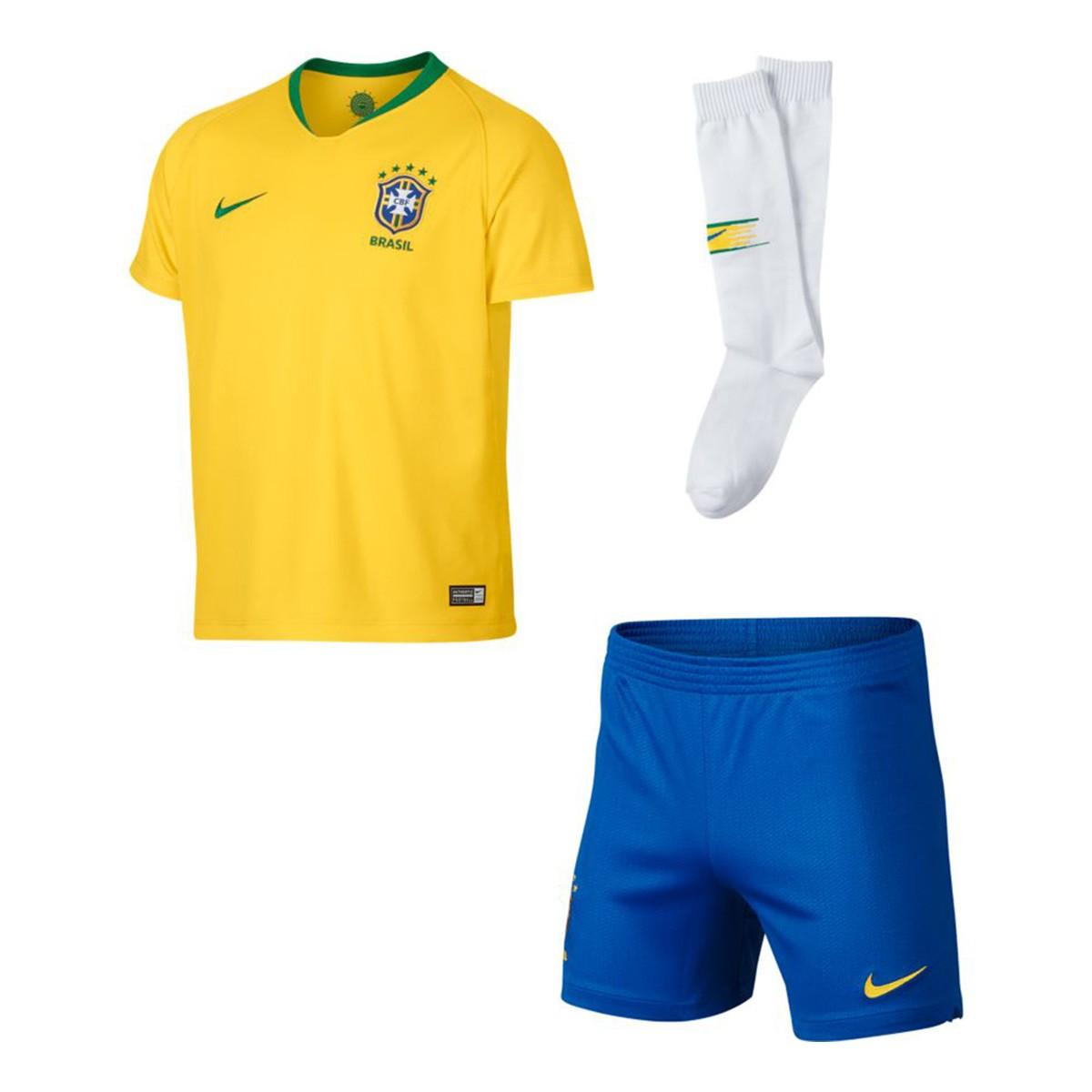 Conjunto Nike Brasil Breathe Primera Equipación 2018-2019 Niño Midwest  gold-Lucky green - Leaked soccer 9fe3caa6481