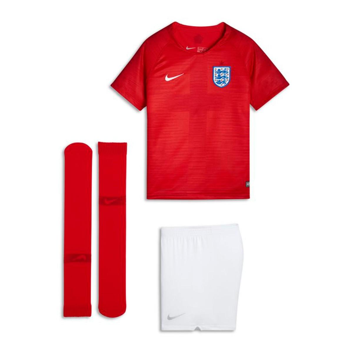 f648fb27a1d8c Kit Nike Kids England 2018-2019 Away Challenge red-White - Football ...