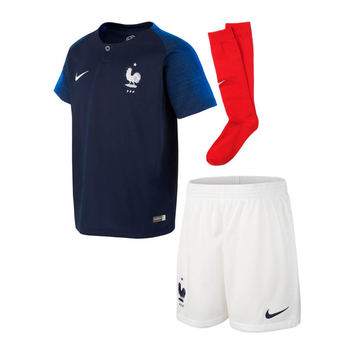best sneakers 82fac 31647 Conjunto Nike Francia Breathe Primera Equipación 2018-2019 Niño  Obsidian-White - Soloporteros es ahora Fútbol Emotion