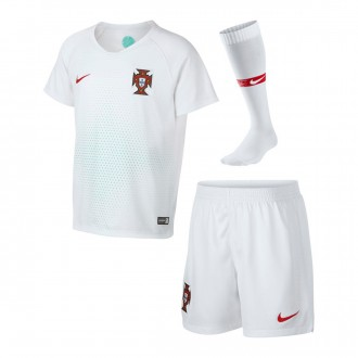 Conjunto  Nike Portugal Breathe Segunda Equipación 2018-2019 Niño White-Gym red