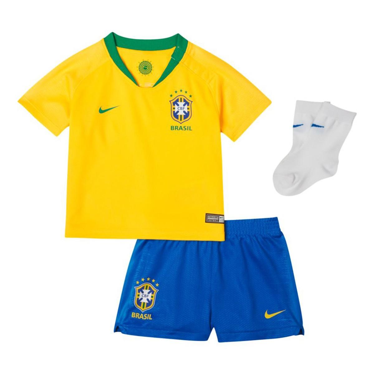 buy popular 653b2 9d922 Conjunto Nike Bebé Brasil Breathe Primera Equipación 2018-2019 Midwest  gold-Lucky green - Soloporteros es ahora Fútbol Emotion