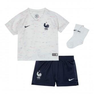 Conjunto  Nike Francia Breathe Segunda Equipación 2018-2019 Bebe White-Obsidian