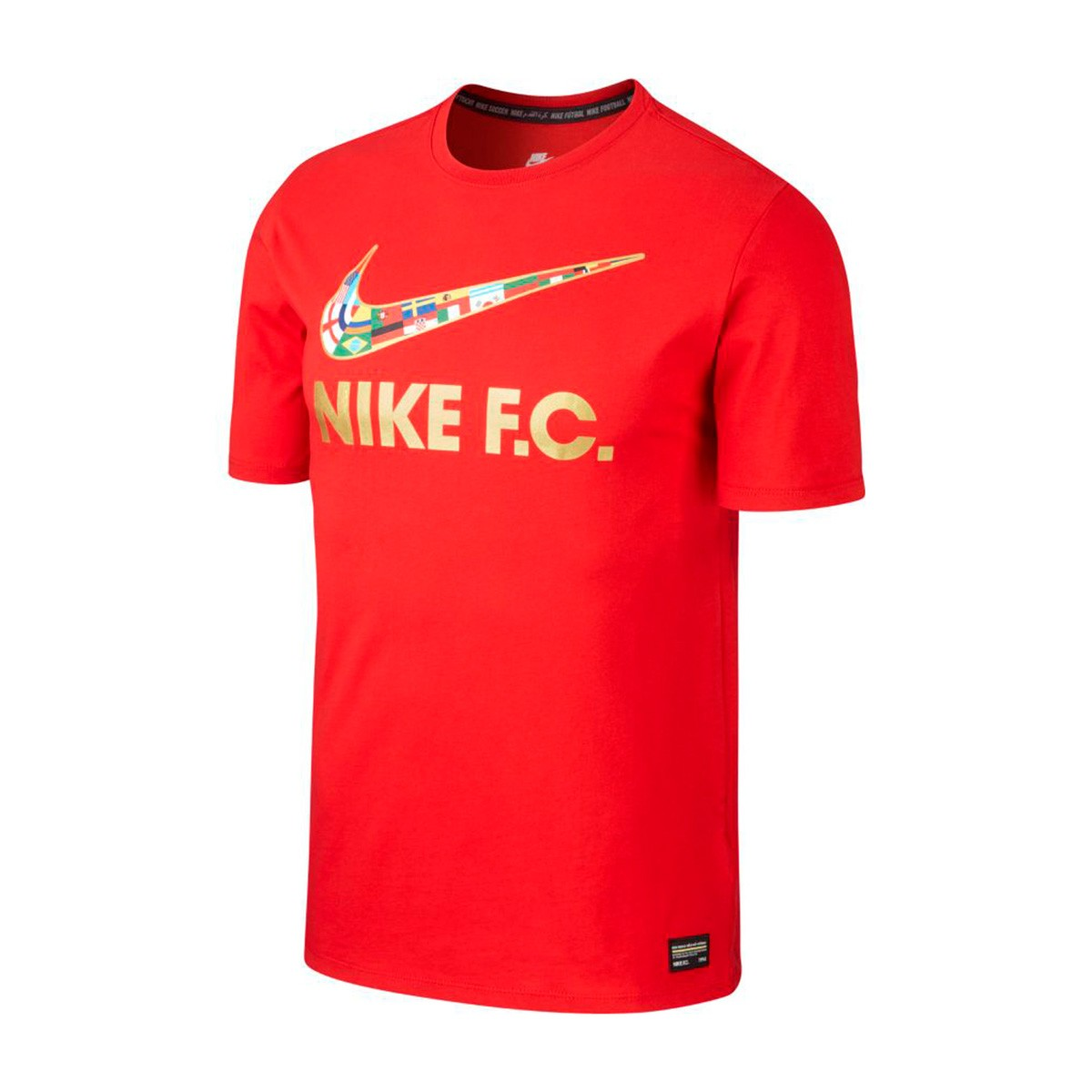 most popular classic fit the sale of shoes Camiseta Nike F.C. Swoosh Flag University red-Metallic gold