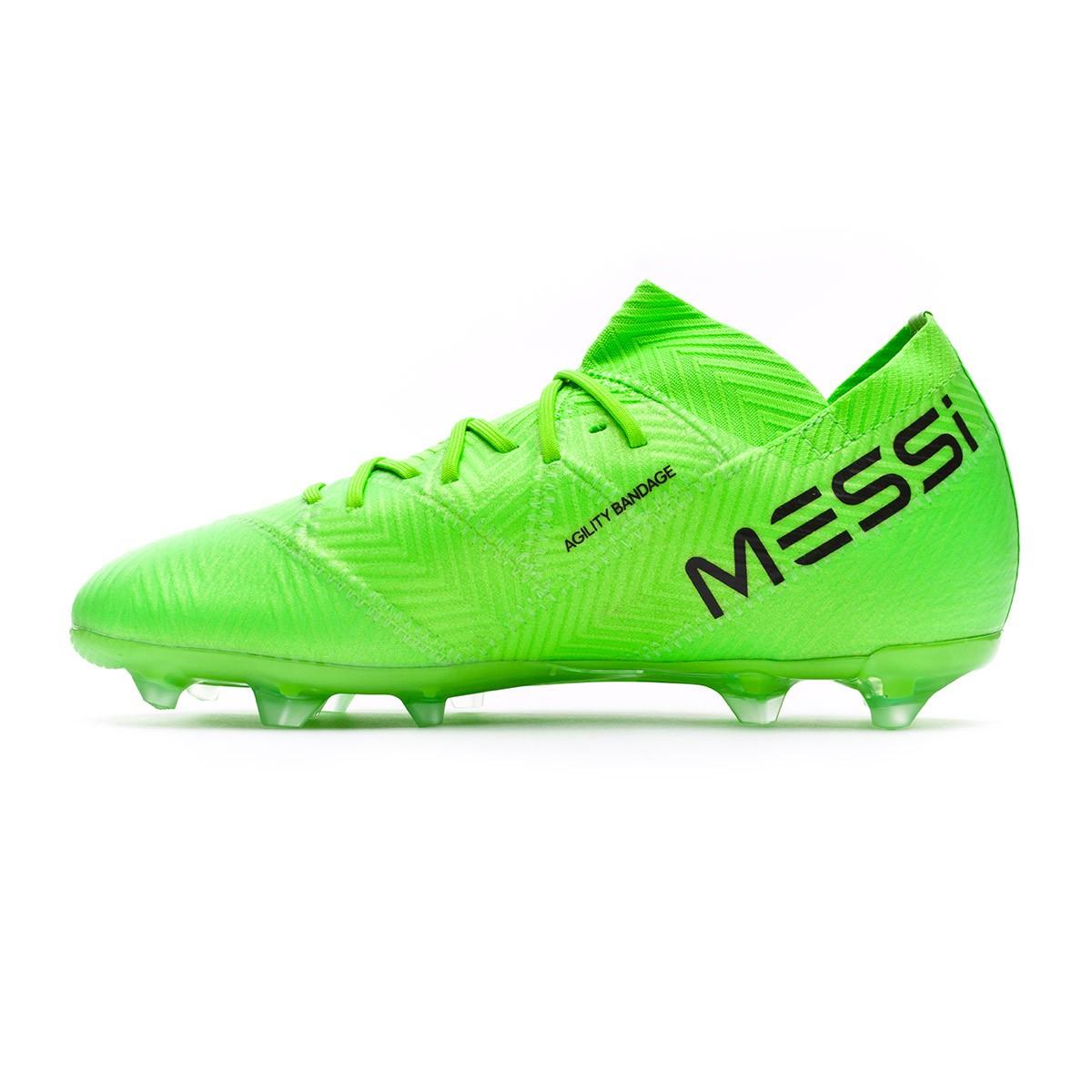 detailed look ad89a 0def5 Bota de fútbol adidas Nemeziz Messi 18.1 FG Niño Solar green-Black - Leaked  soccer