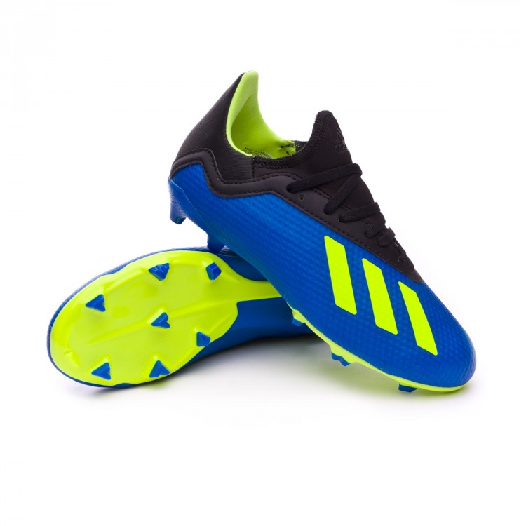 ee84ce7a796207 Football Boots adidas Kids X 18.3 FG Foot blue-Solar yellow-Black ...