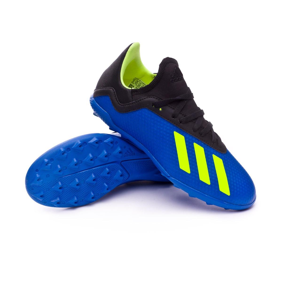 47ca988a7d6ad6 adidas Kids X Tango 18.3 Turf Football Boot. Foot blue-Solar yellow-Black  ...