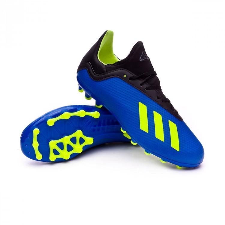 Bota de fútbol adidas X 18.3 AG Niño Foot blue-Solar yellow-Black ... 5b4eb3c676486