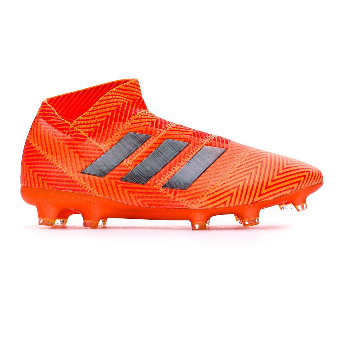 c7cdbe130ae04 Bota de fútbol adidas Nemeziz 18+ FG Zest-Black-Solar red - Tienda de fútbol  Fútbol Emotion