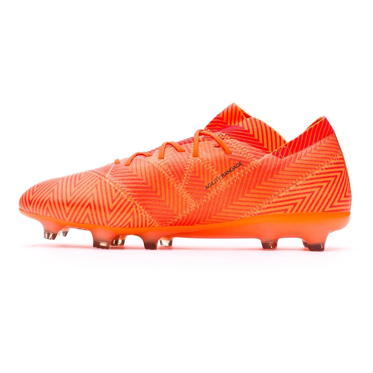 1dcc55cc7a85 Football Boots adidas Nemeziz 18.1 FG Zest-Black-Solar red - Football store  Fútbol Emotion