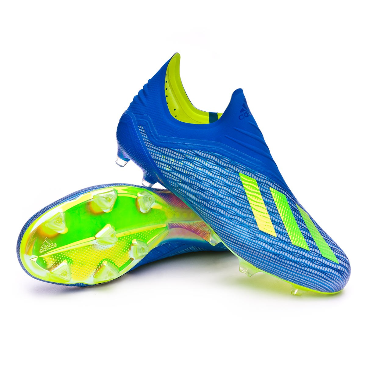 Zapatos de fútbol adidas X 18+ FG Foot blue-Solar yellow-Black ... d3ab72a894f93