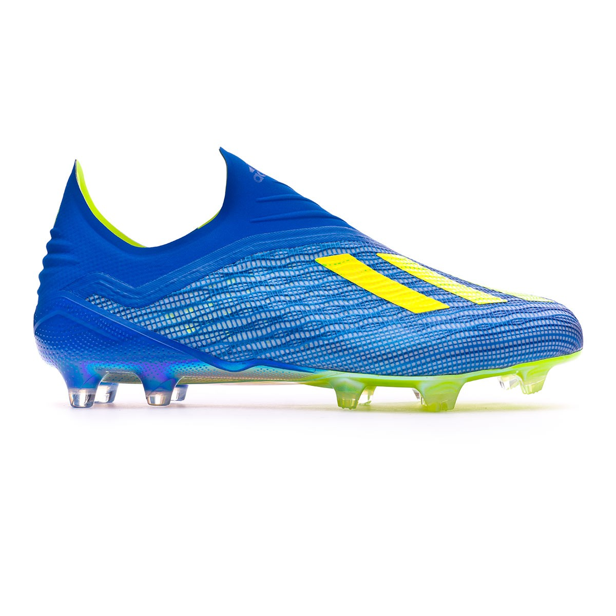 Boot adidas X 18+ FG Foot blue-Solar yellow-Black - Soloport