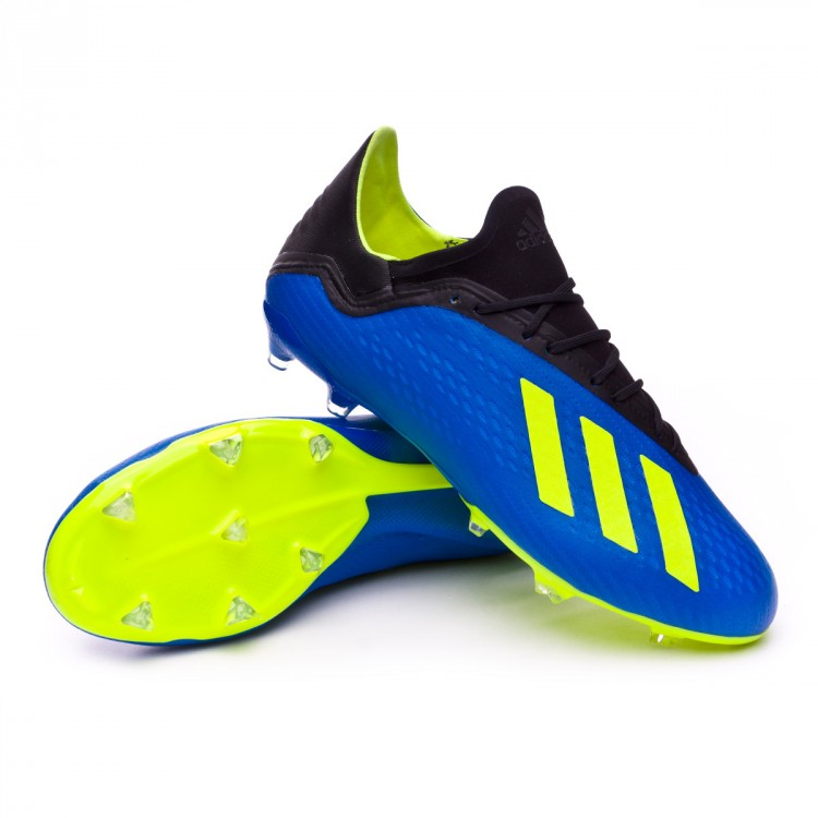 Chaussure de foot adidas X 18.2 FG Foot blue Solar yellow