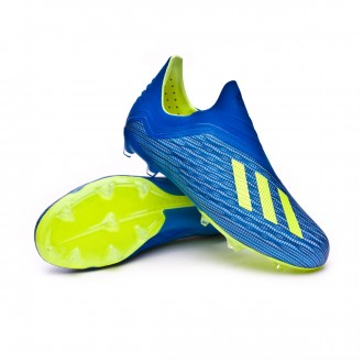 Bota  adidas X 18+ FG Niño Foot blue-Solar yellow-Black
