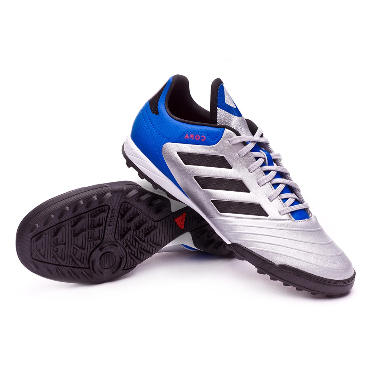 sports shoes 1b7f3 40c17 adidas Copa Tango 18.3 Turf Football Boot. Silver metallic-Core black-Football  blue ...