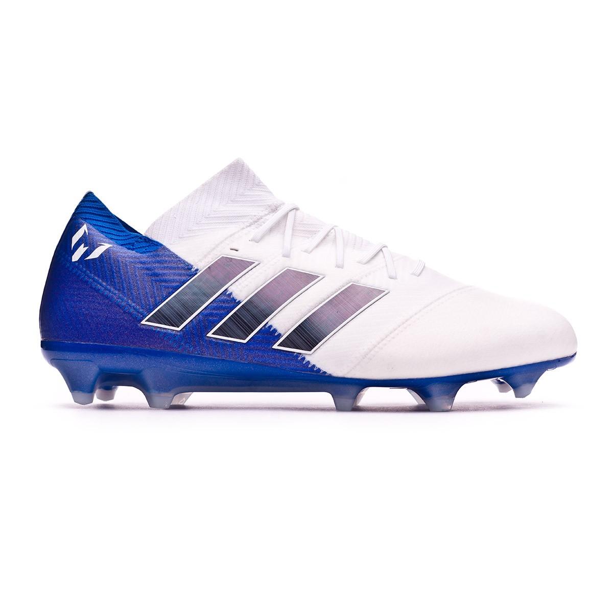 buy online f13da 17d83 Boot adidas Nemeziz Messi 18.1 FG White-Core black-Football blue - Football  store Fútbol Emotion