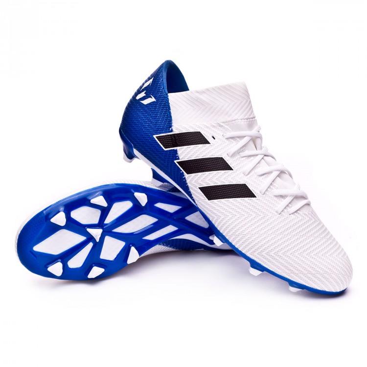 sustantivo Reunión Expulsar a  Football Boots adidas Nemeziz Messi 18.3 FG White-Core black-Football blue  - Football store Fútbol Emotion