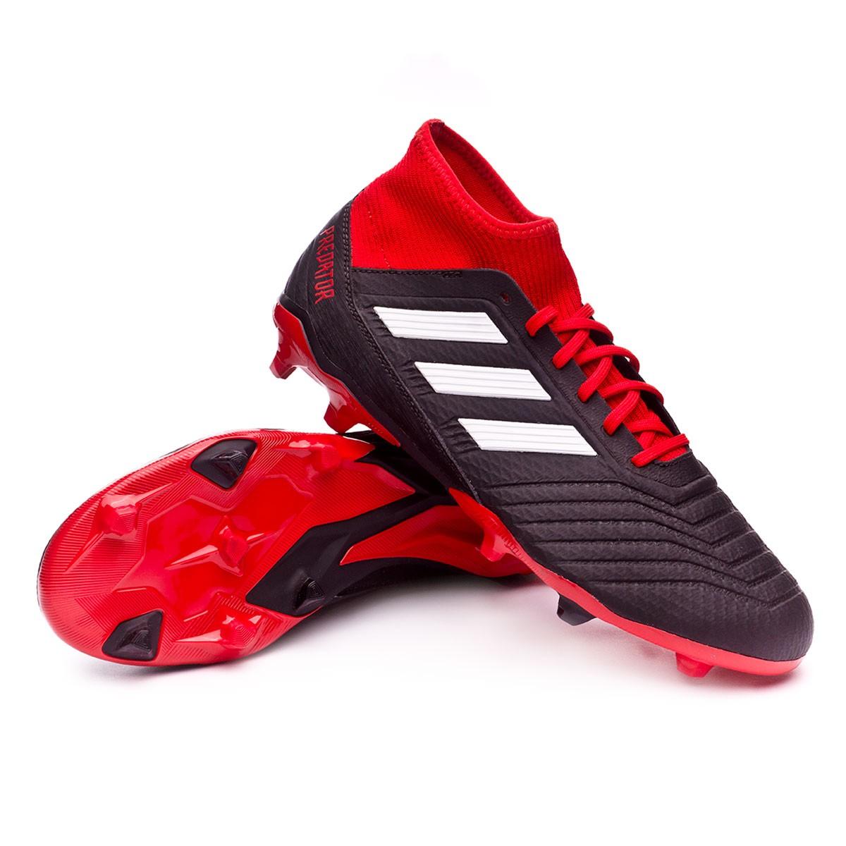 Chaussure de foot adidas Predator 18.3 FG Core black-White-Red ...