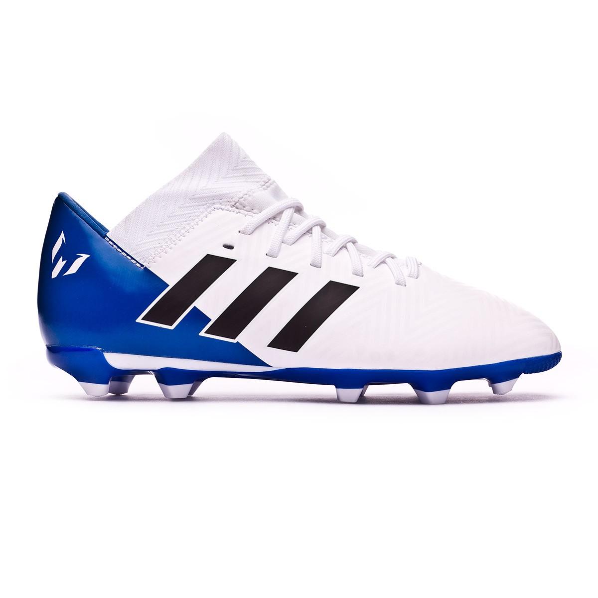 dd0ba906ef83 Boot adidas Kids Nemeziz Messi 18.3 FG White-Core black-Football blue Niño  - Leaked soccer