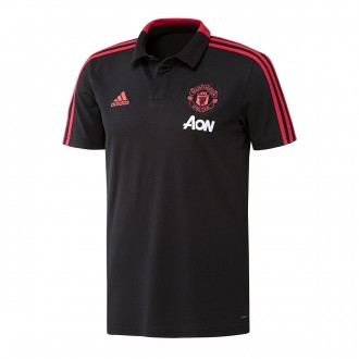 Polo shirt  adidas Manchester United FC 2018-2019 Black-Blaze red-Core pink