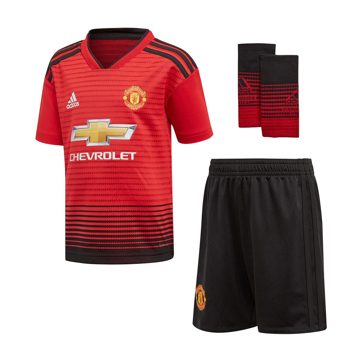 b4bf6c23566 Kit adidas Kids Manchester United FC 2018-2019 Home Real red-Black - Tienda  de fútbol Fútbol Emotion