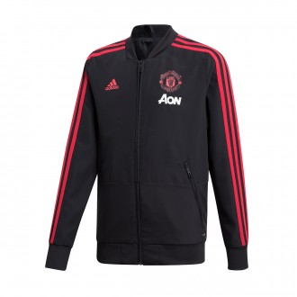 Jacket  adidas Kids Manchester United FC Prematch 2018-2019  Black-Blaze red-Core pink