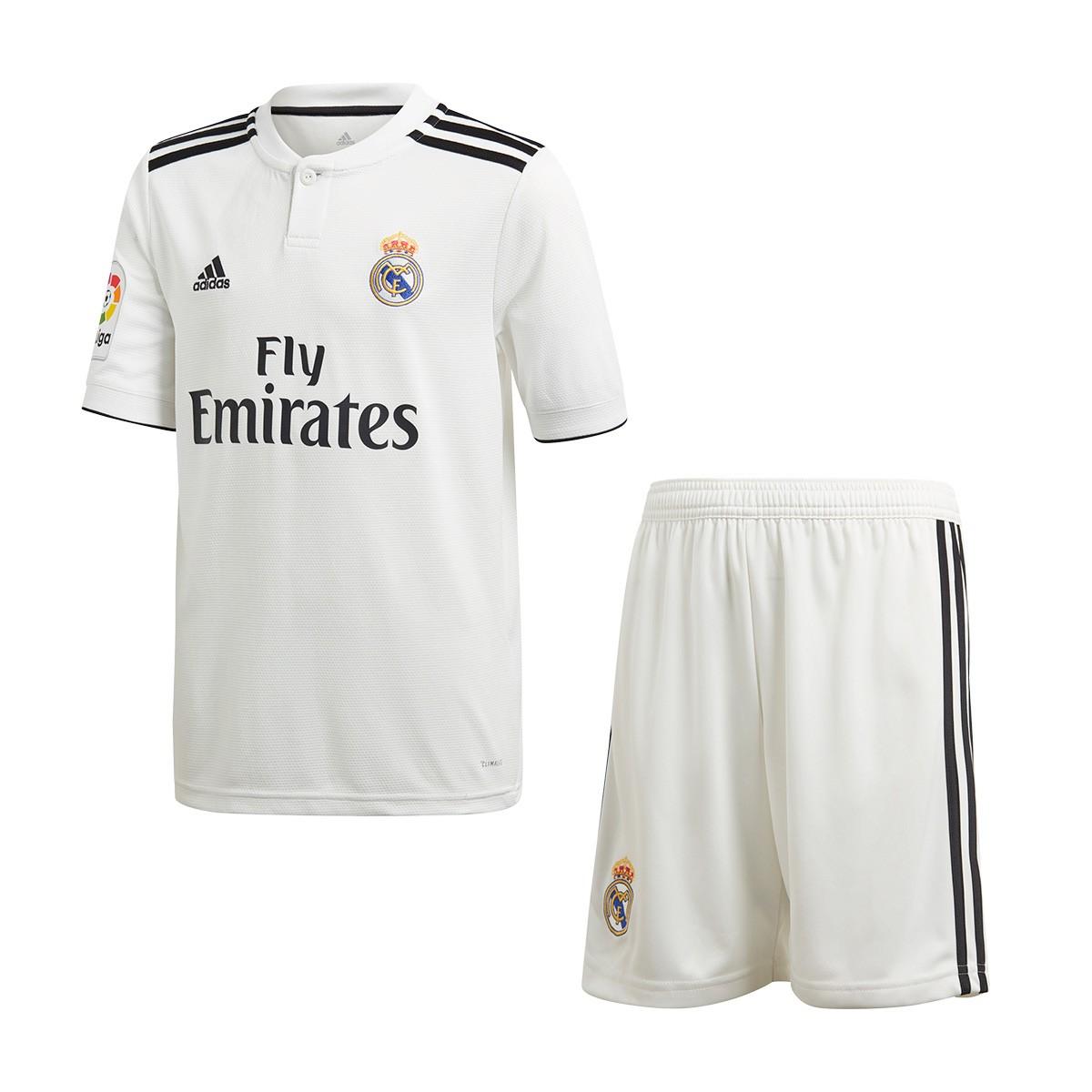 paciente Mancha Panorama  Conjunto adidas Real Madrid Primera Equipación 2018-2019 Niño White-black -  Tienda de fútbol Fútbol Emotion