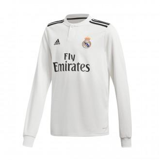 Camiseta  adidas Real Madrid Primera Equipación LS 2018-2019 Niño White-black
