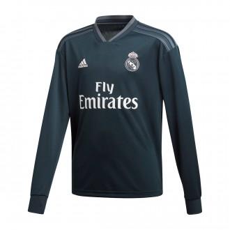 Camiseta  adidas Real Madrid Segunda Equipación LS 2018-2019 Niño Tech onix-Bold onix-White