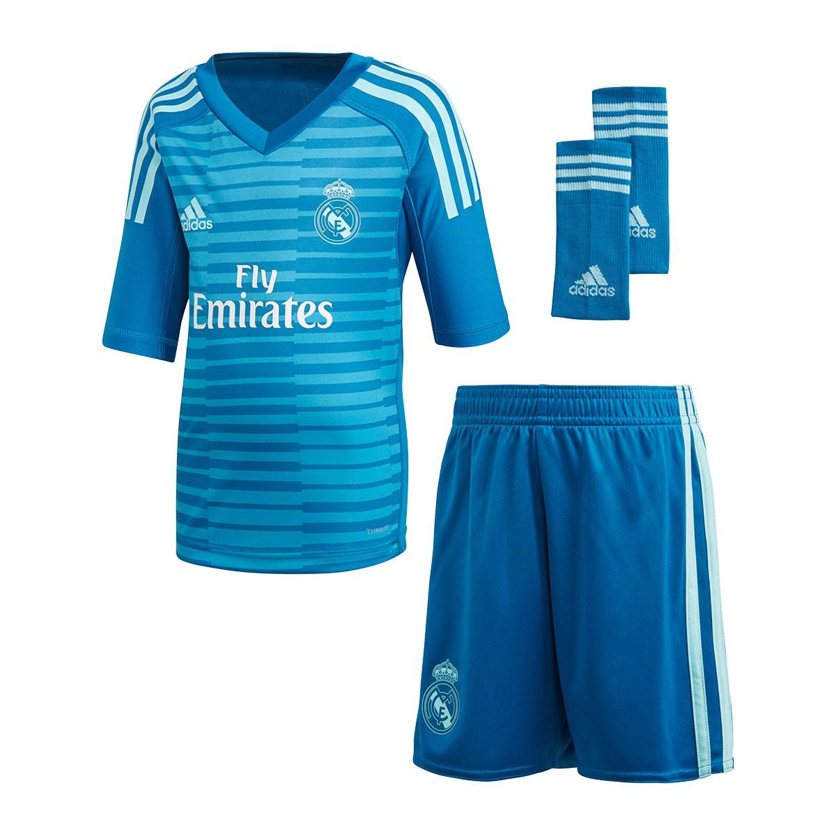 3c06e97360775 Conjunto adidas Real Madrid Portero Segunda Equipación 2018-2019 Niño Bold  aqua-Unity blue - Tienda de fútbol Fútbol Emotion