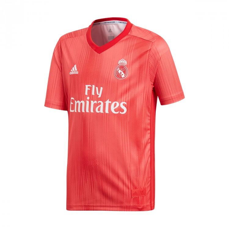 pretty nice fadf3 db611 Camiseta Real Madrid Tercera Equipación 2018-2019 Niño Real coral-Vivid red