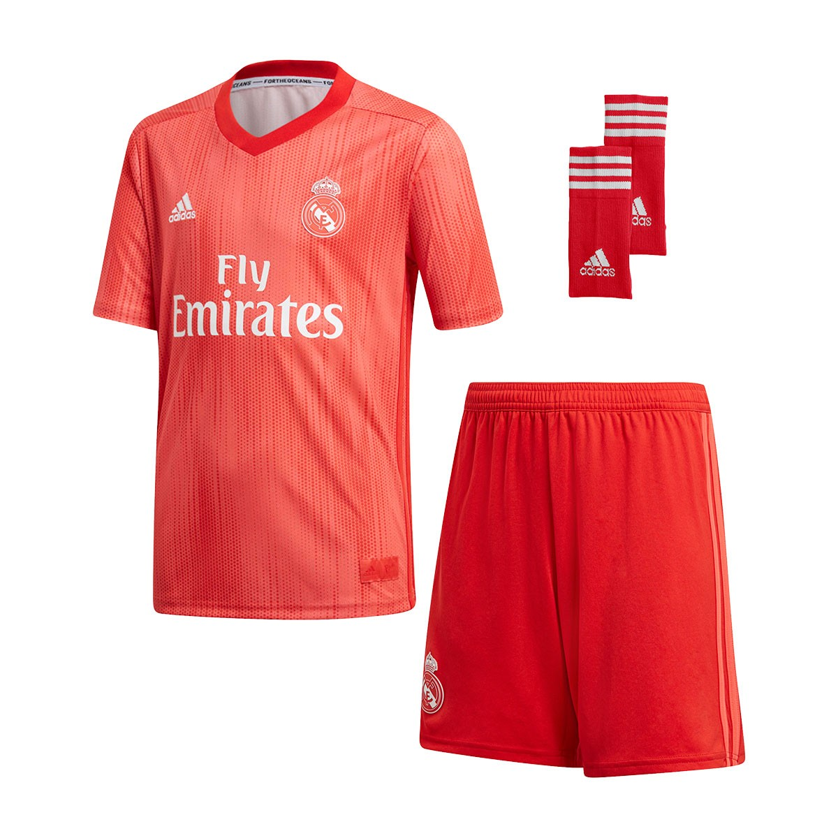 5c45208f9c266 Kit adidas Kids Real Madrid 2018-2019 Third Real coral-Vivid red - Football  store Fútbol Emotion