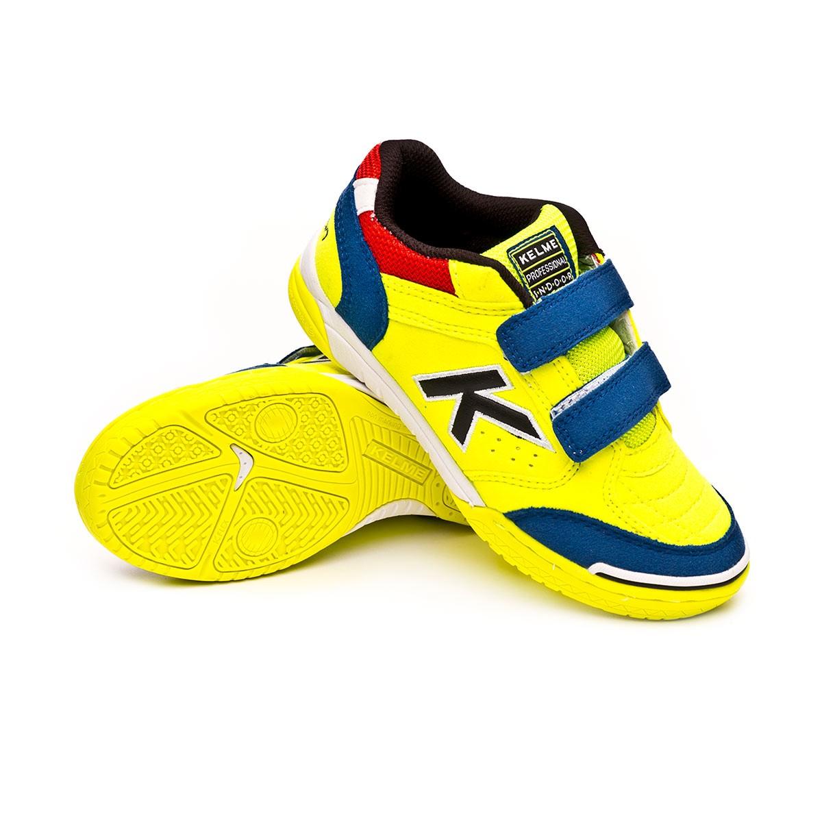 ca1155c49e6 Futsal Boot Kelme Kids Precision Velcro Lime-Blue - Football store ...