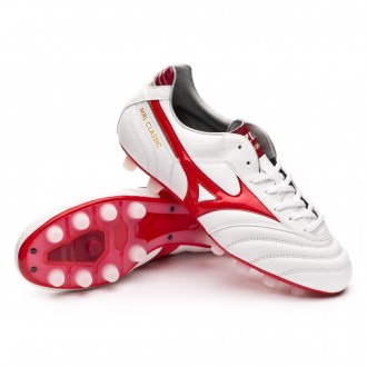 Chuteira  Mizuno Morelia Classic MD White-High Risk Red