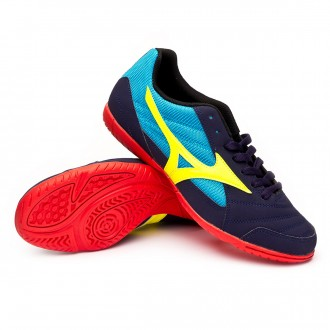 Sapatilha de Futsal  Mizuno Sala Club 2 IN Evening blue-Safety yellow-Hawaiian ocean