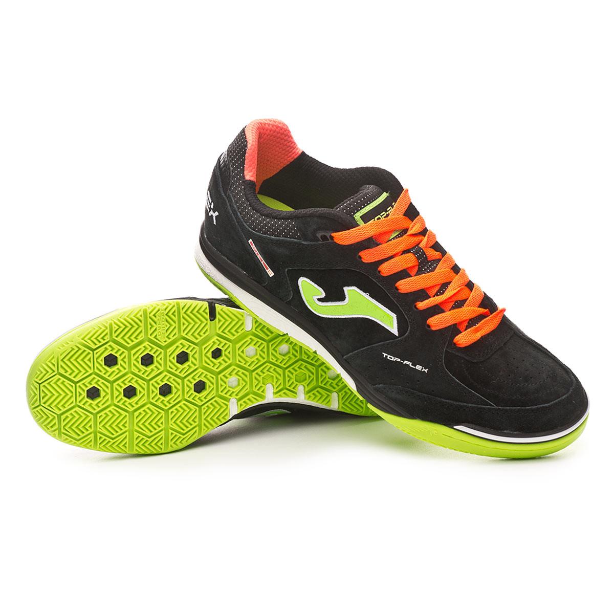a0ce46cfda Futsal Boot Joma Top Flex Nobuck Black-Orange - Football store Fútbol  Emotion