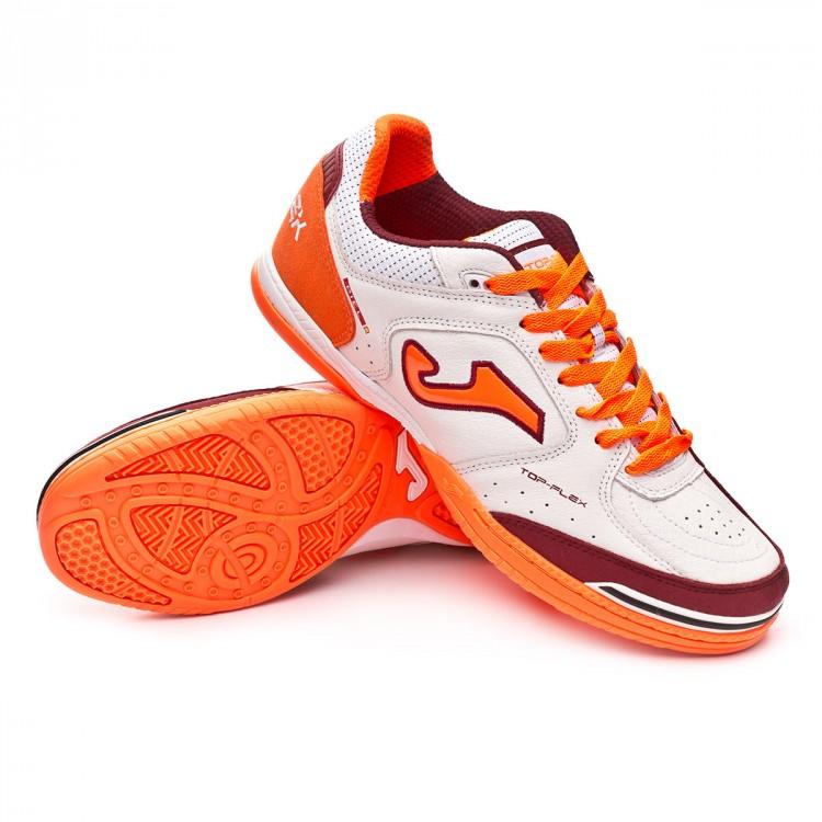 9fc28bdee3 Futsal Boot Joma Top Flex White-Orange - Football store Fútbol Emotion