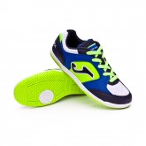 Sapatilha de Futsal Top Flex Crianças White-Blue-Limão