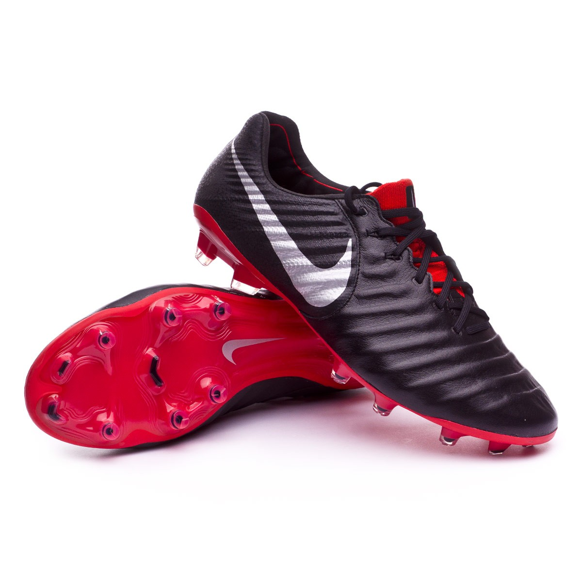 6bf8f5e39ade4 Football Boots Nike Tiempo Legend VII Elite FG Black-Metallic silver ...