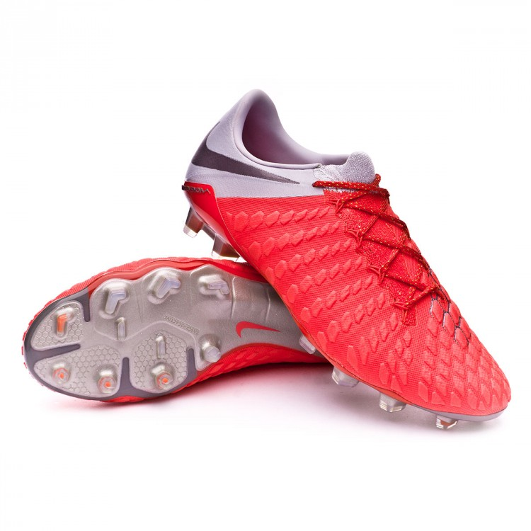 Bota Hypervenom Phantom III Elite FG Light crimson-Metallic dark grey-Wolf  grey